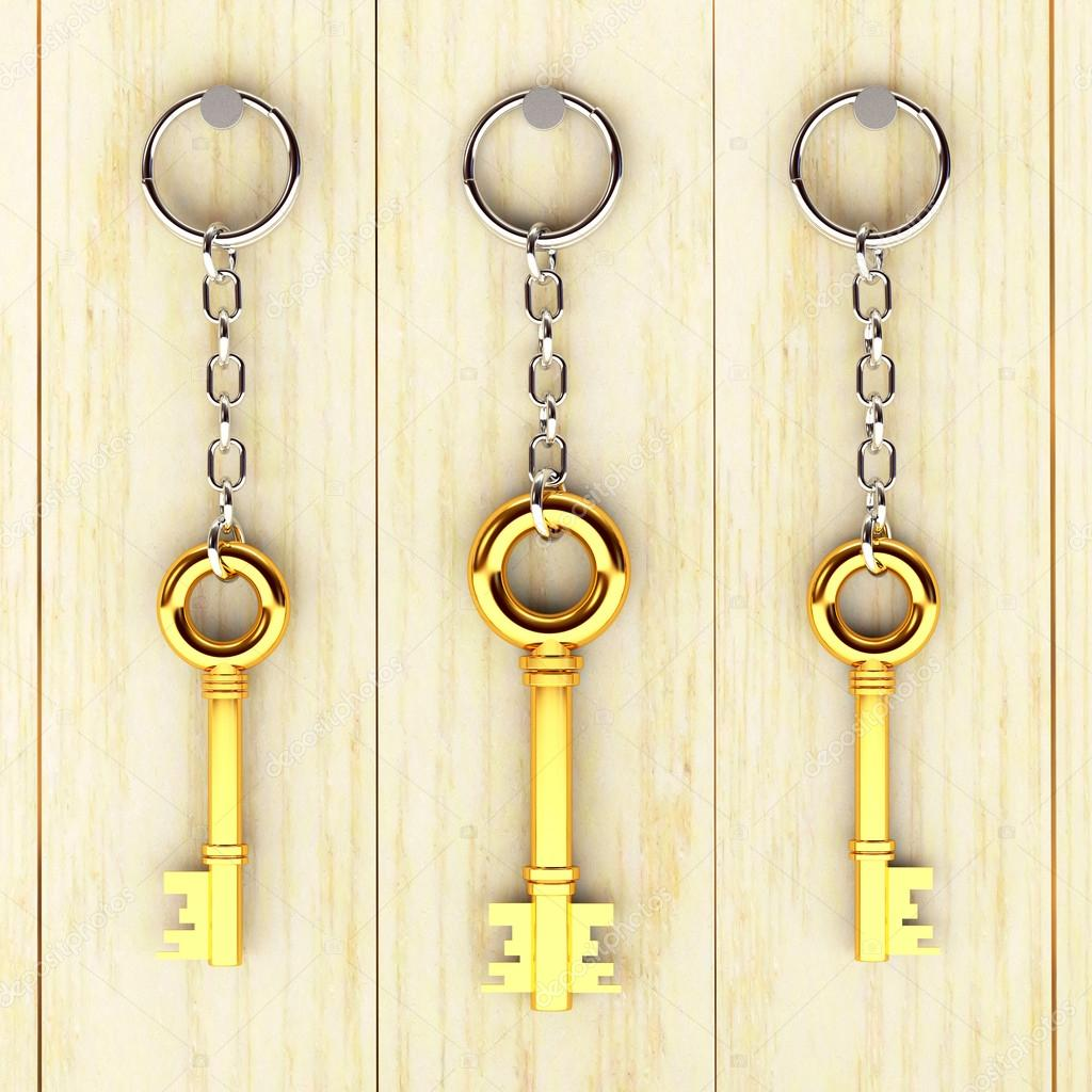 Set of golden keys is hanging on the wooden wall — Stock Photo ...