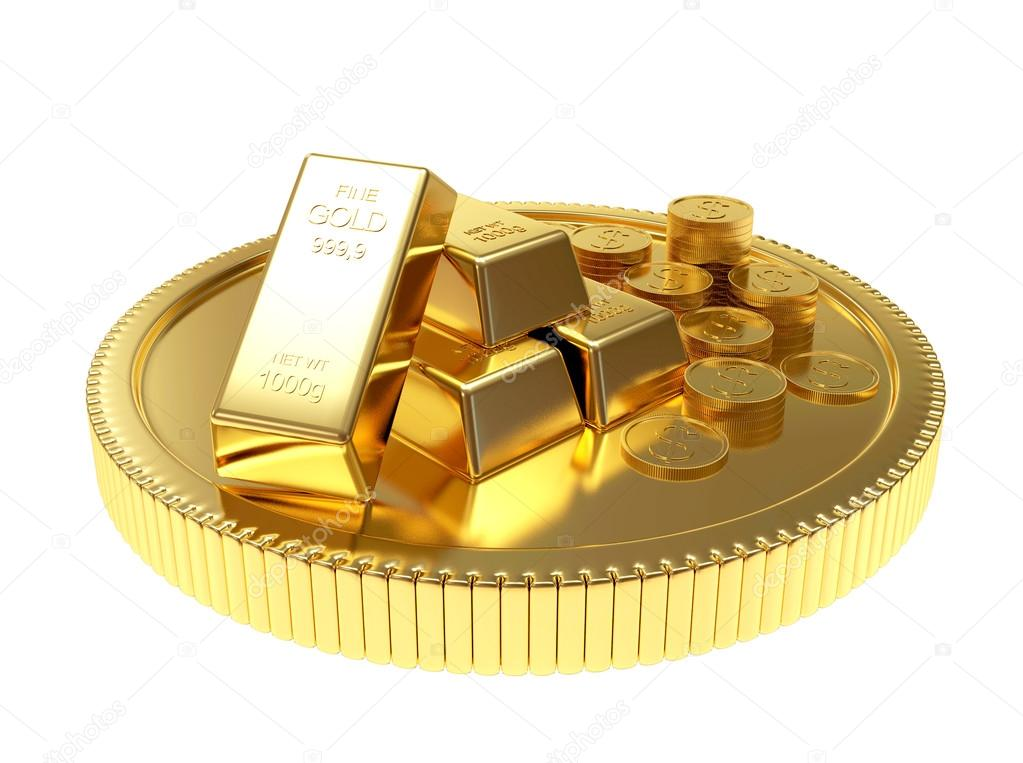 Pile of golden bars and coins on a large coin
