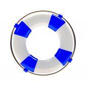 modrá záchranný kruh na bílém pozadí