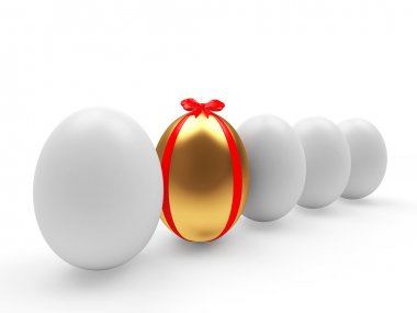 Row of white eggs and one golden Easter egg among them isolated on white background