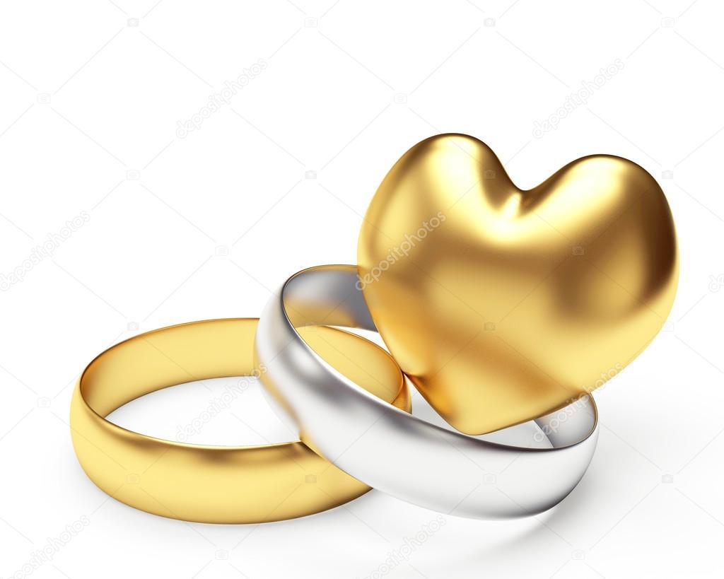 Trauringe hochzeit silber  und Silberne Hochzeit Ringe und Herzen — Stockfoto #99734426