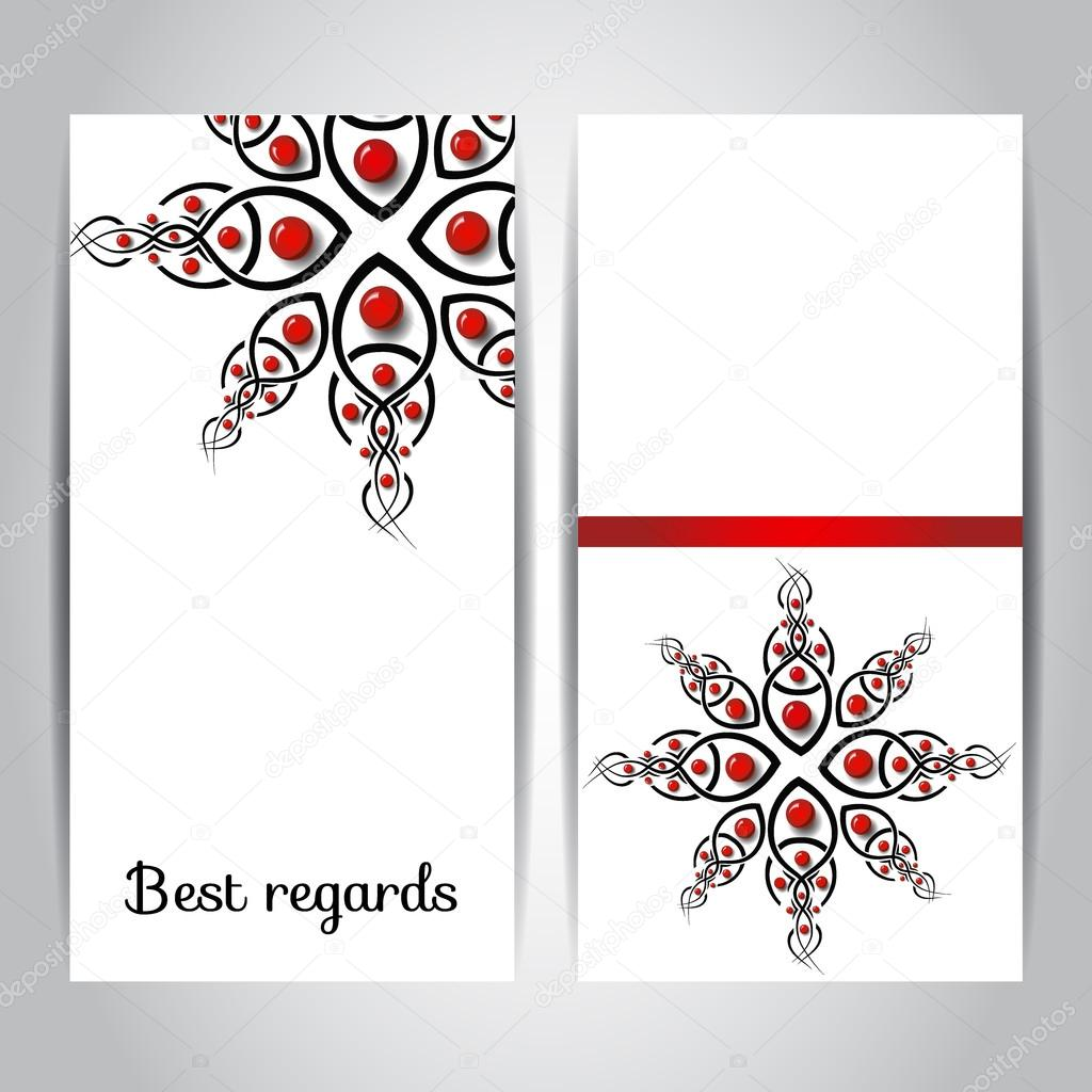 Set With Two Cards Greeting Card With Decorative Elements And Shiny