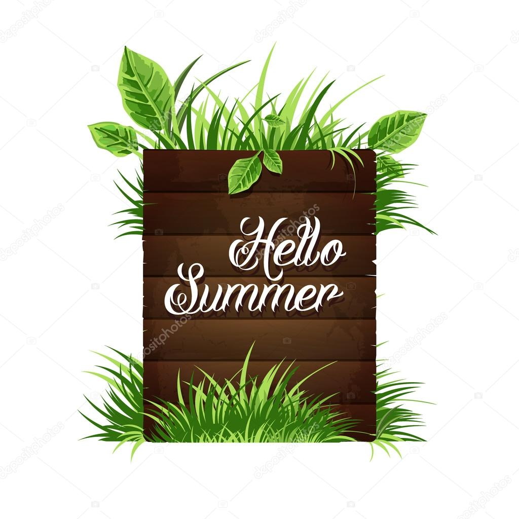 A wooden plaque with the inscription hello summer.