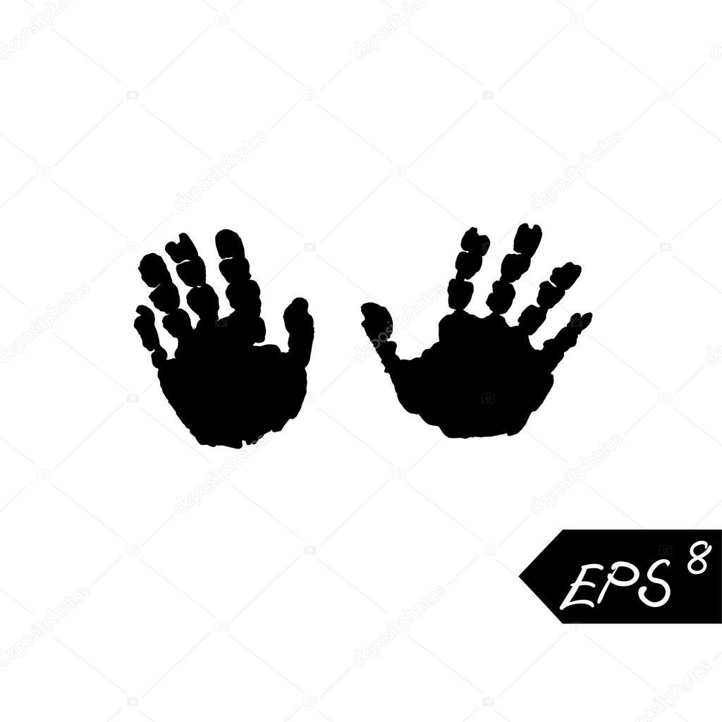 Vektor Schwarze Kinder Handabdruck Isoliert Auf Weissem Hintergrund