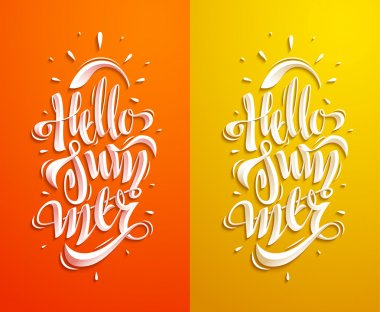 Summer Lettering Set. Some Creative Compositions For Your Projects. stock vector