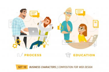 Business characters in circles.
