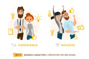 Business characters in circles