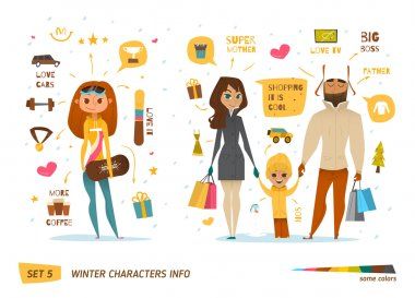 Winter characters set