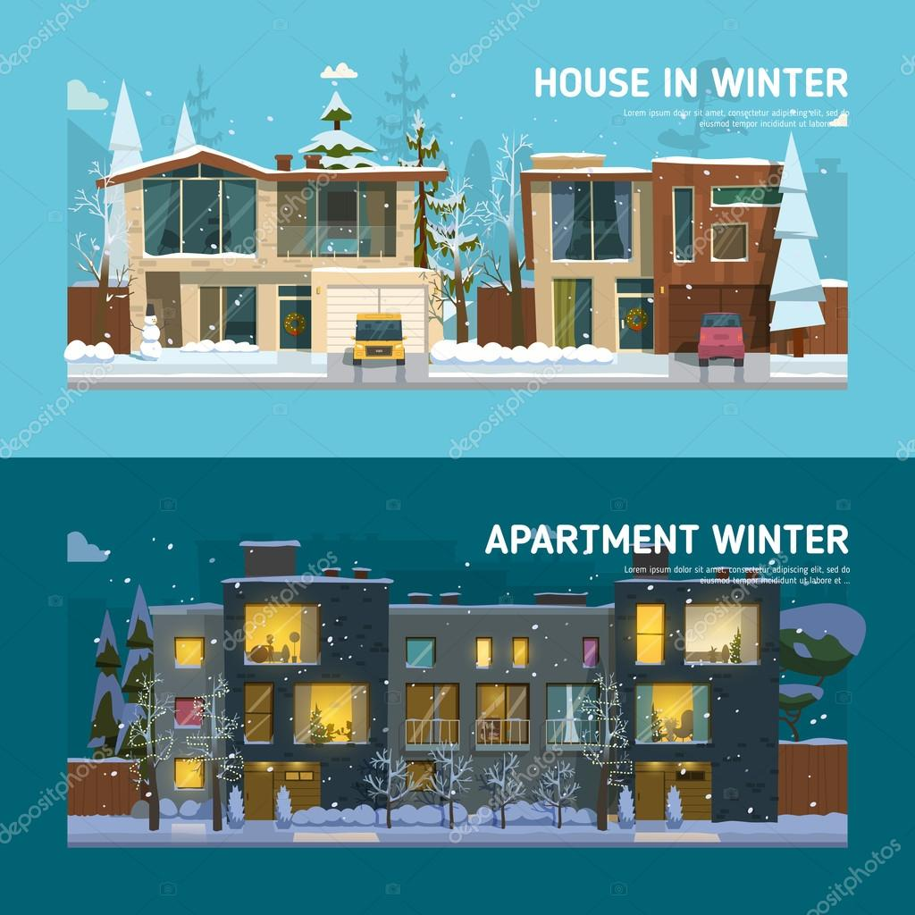 Two family house and apartment banners