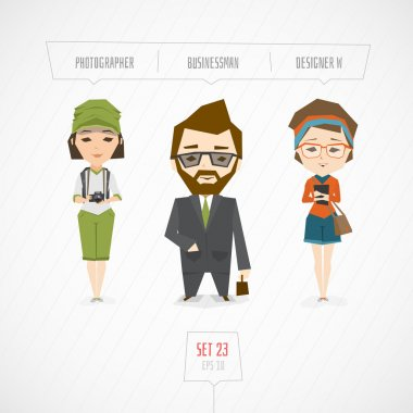 Cartoon characters photographer businessman designer