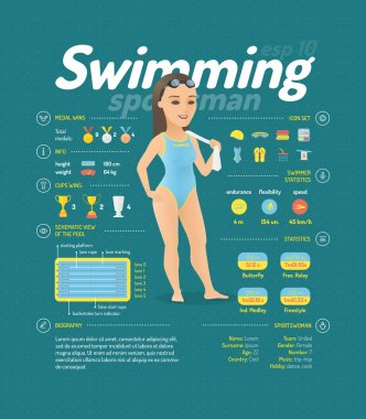 Swimming infographic signs