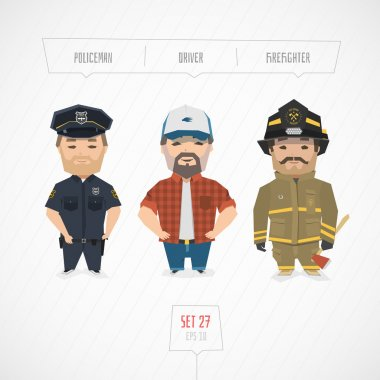 Cartoon characters policeman driver firefighter