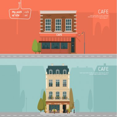 Cafe buildings on background