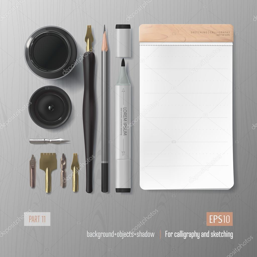 Realistic sketching and calligraphy