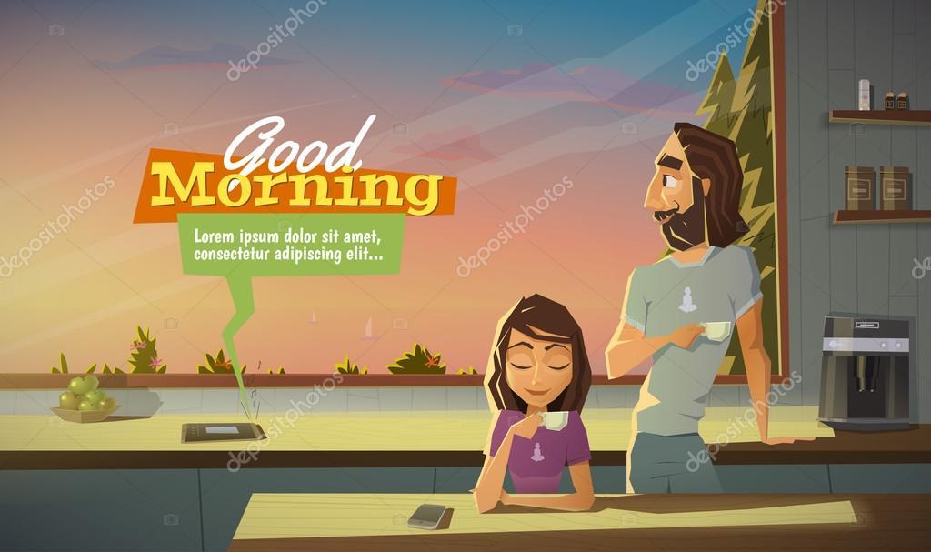 Guten Morgen Trinken Sie Kaffee Mit Der Familie