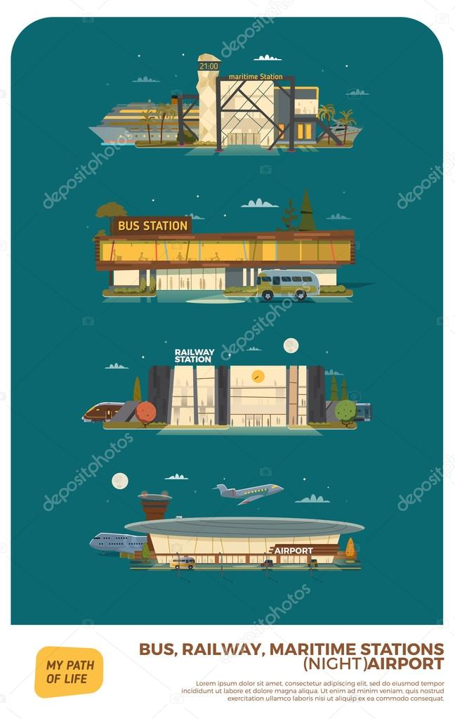 Bus, maritime, railway stations and airport. Daylight version