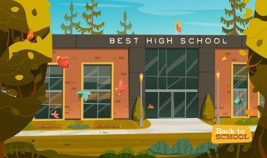 Beautiful high school facade