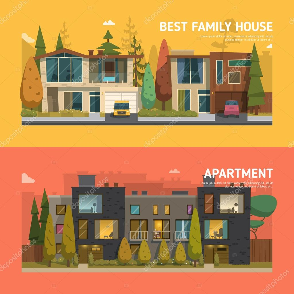 family house and apartment banners