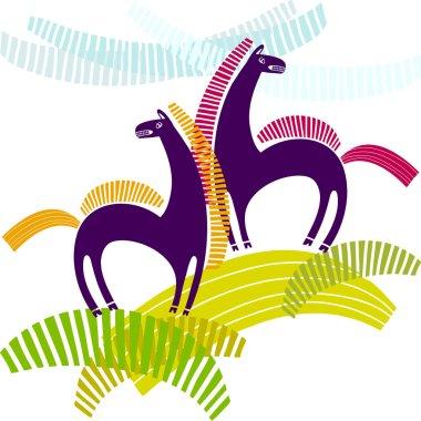 cartoon stylized horses
