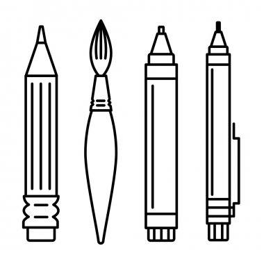 set of icons for art supplies