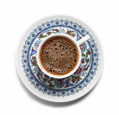 Turkish coffee on decorative plate