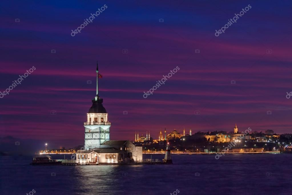 Maidens Tower and city lights