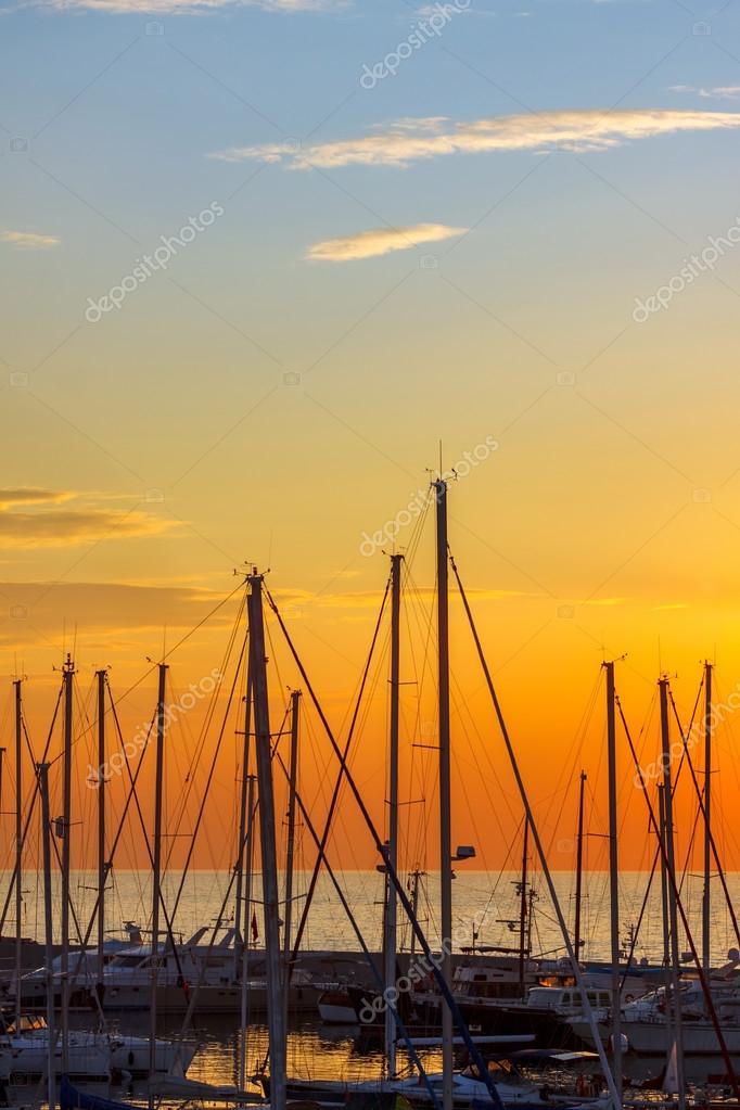 Sail poles of yachts at bay