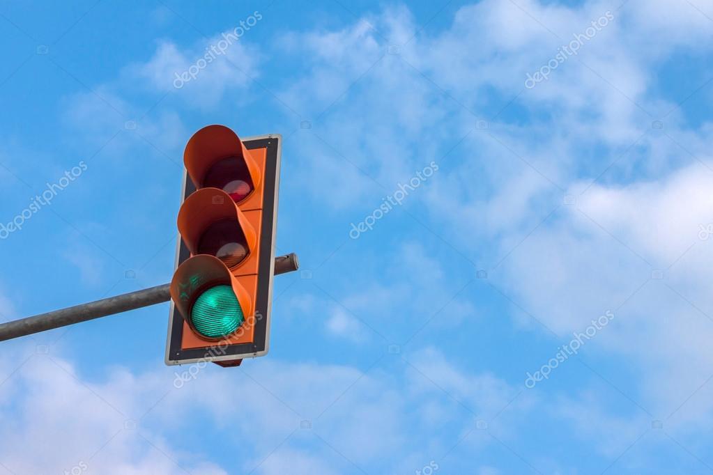 Traffic light on pole
