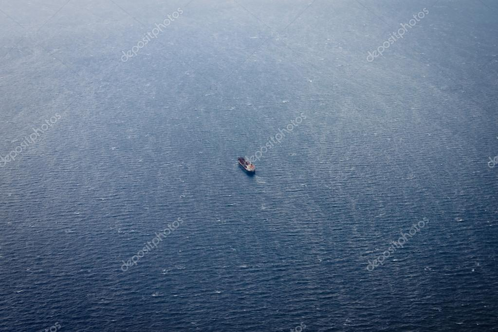 Aerial view of oil tanker ship