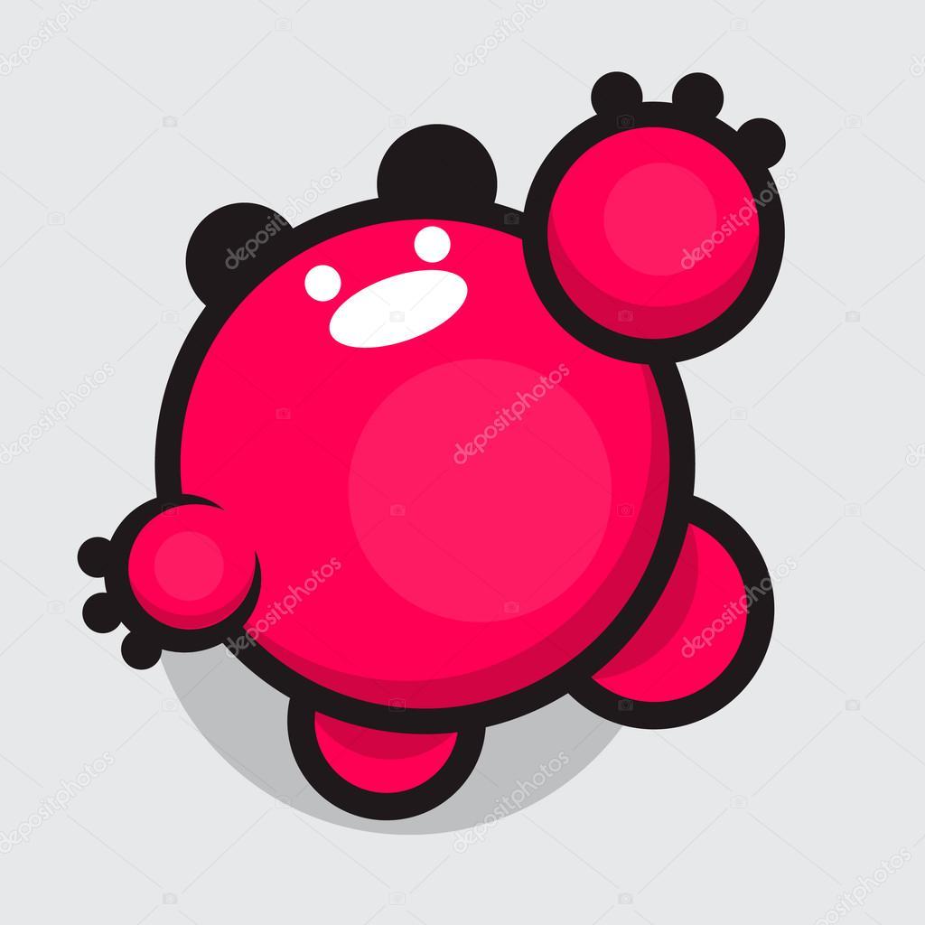 キュートなぽっちゃりモンスター。かわいい文字。ピンクの泡。耳優しい