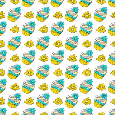 Seamless pattern with sweet pastries. Vector illustration. Cute muffins with flowers, cupcakes, flower. Decorative print