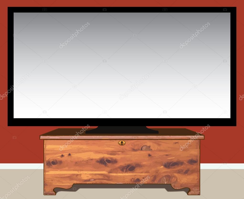 TV en cedro pecho — Vector de stock © Ken_Cook #113784702
