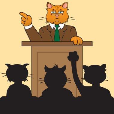 Cat speaker at podium