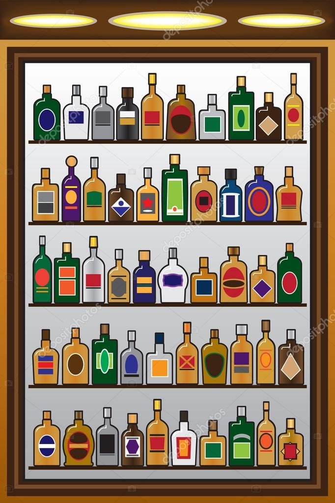 Shelves full of liquor bottles