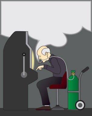 Smoking gambler at slot machine