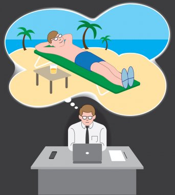 Office worker's vacation daydream