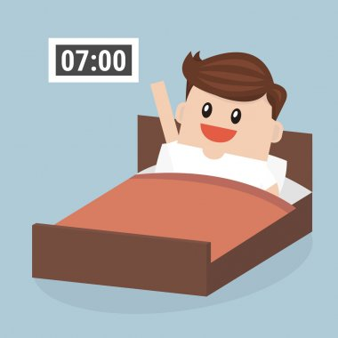 Businessman wake up early, vector, flat design