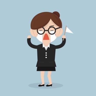 Businesswoman surrender, vector design illustration eps10.