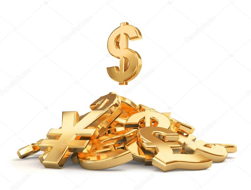 Heap Of Different Currencies Symbols Stock Photo 3sergail