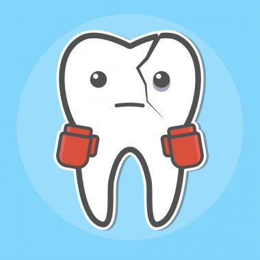 Tooth with a crack wear boxing gloves