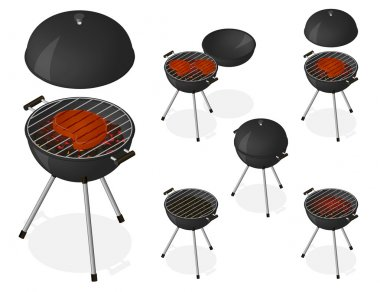 Opened and closed barbecue grill set.