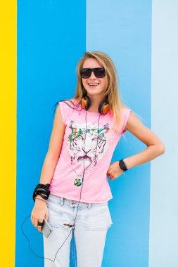 young beautiful blonde girl posing
