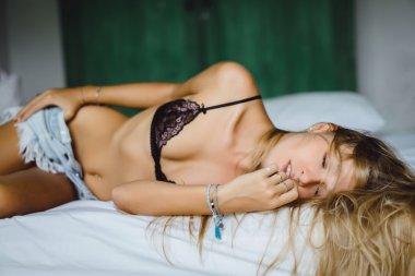 blonde  girl  in silk underwear