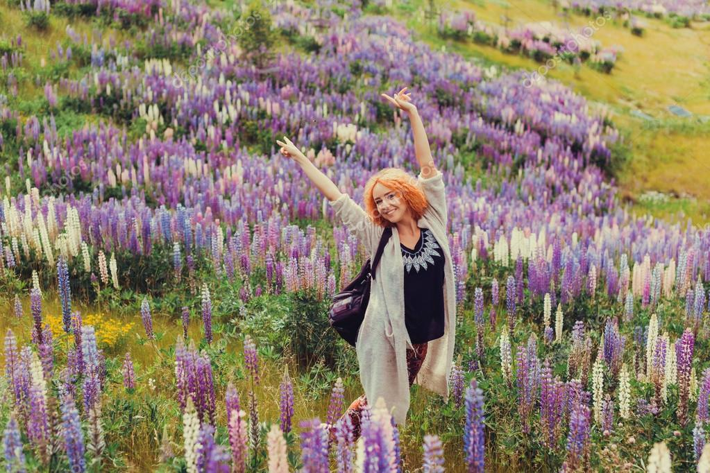 red-haired girl in a field of lavender