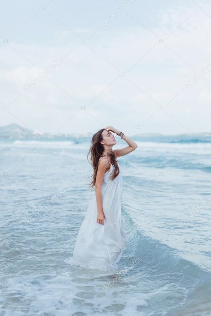 woman brunette on tropical island