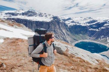 Hiking man   in Norway