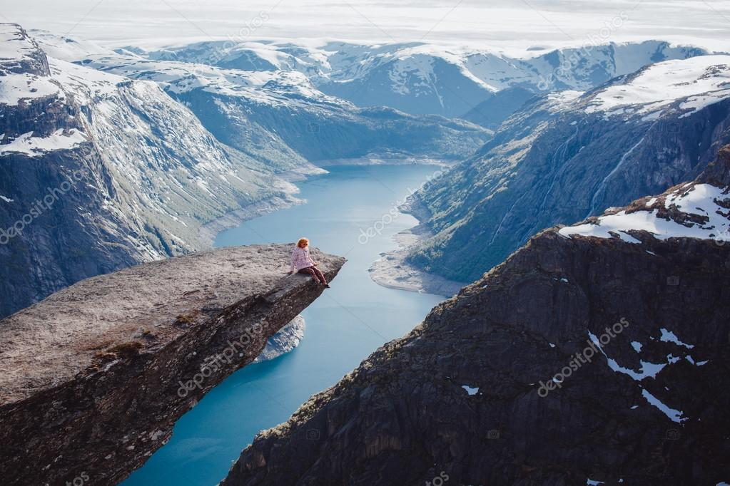 girl   on a rock , Norway fjords