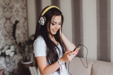 sexy hipster girl and music