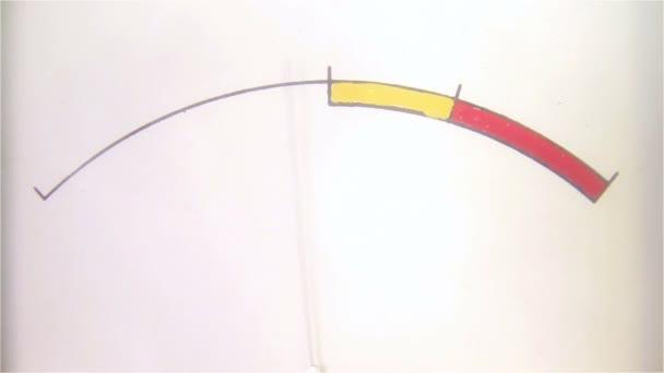 rechteckiges Messgerät mit Zeiger-Indikator im Retro-Stil