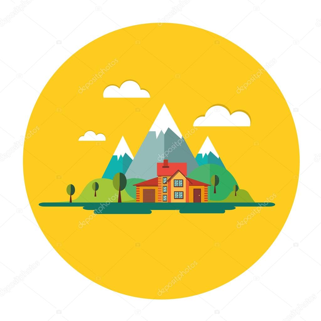 Color vector flat icon set and illustrations urban village landscapes